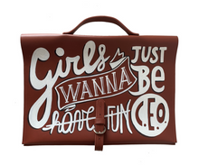Girls Just Wanna Be Hand Painted Leather Bag
