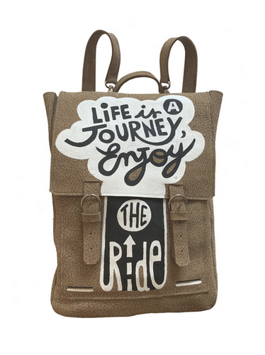 Life is a Journey Hand Painted Leather Backpack