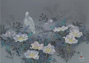 White Bird and Flowers
