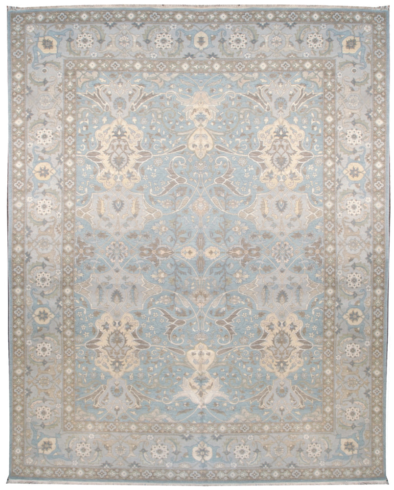225471 - Transitional Rug (Wool and Silk) - 10' x 14' | OAKRugs by Chelsea affordable wool rugs, handmade wool area rugs, wool and silk rugs contemporary