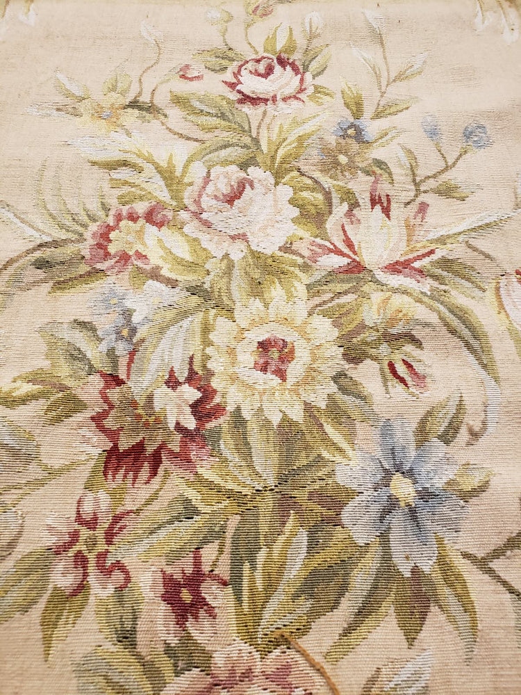 n457 - European Aubusson Rug (Wool and Silk) - 6' x 9' | OAKRugs by Chelsea antique wall rugs, handmade antique art rugs, European antique rugs