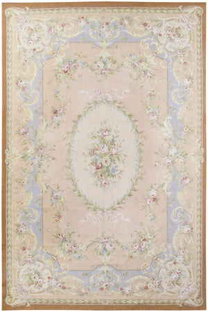 n457 - European Aubusson Rug (Wool and Silk) - 6' x 9' | OAKRugs by Chelsea 100 percent wool area rugs, vintage braided rugs for sale, antique tapestry rugs