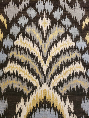 n6077 - Transitional Ikat Rug (Wool) - 8' x 10' | OAKRugs by Chelsea high end wool rugs, hand knotted wool area rugs, quality wool rugs