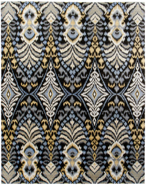 n6077 - Transitional Ikat Rug (Wool) - 8' x 10' | OAKRugs by Chelsea affordable wool rugs, handmade wool area rugs, wool and silk rugs contemporary