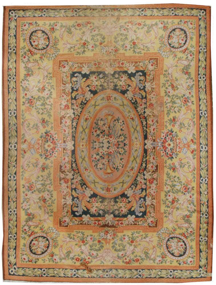 a-sav02 - Antique Savonnerie Rug (9' x 12') | OAKRugs by Chelsea 100 percent wool area rugs, vintage braided rugs for sale, antique tapestry rugs