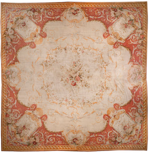a132 - Antique Aubusson Rug, Circa 1780 (18' x 18') | OAKRugs by Chelsea 100 percent wool area rugs, vintage braided rugs for sale, antique tapestry rugs