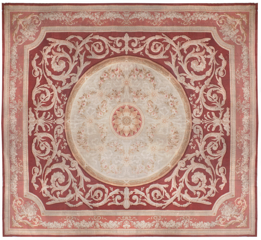 a133 - Antique Aubusson Square, Circa 1790 (16' x 17') | OAKRugs by Chelsea 100 percent wool area rugs, vintage braided rugs for sale, antique tapestry rugs