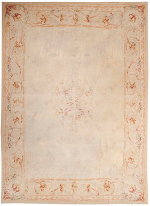 a153 - Antique Aubusson Rug, Circa 1800 (9' x 12') | OAKRugs by Chelsea 100 percent wool area rugs, vintage braided rugs for sale, antique tapestry rugs