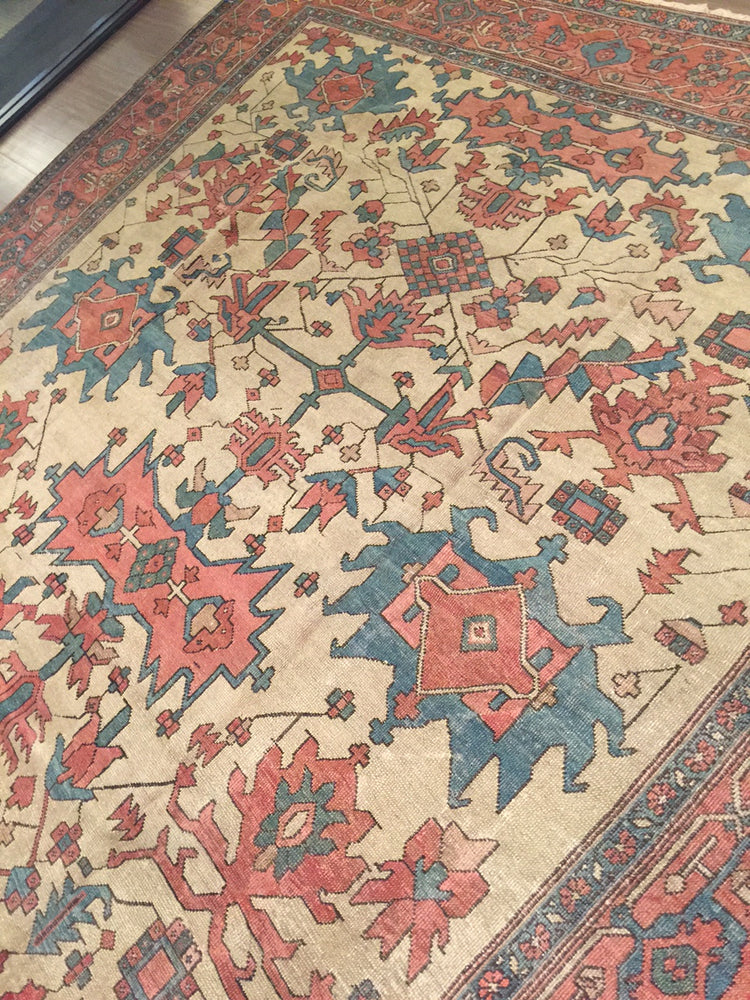 a158 - Antique Serapi Rug (9'10'' x 12'5'') | OAKRugs by Chelsea wool bohemian rugs, good quality wool rugs, vintage wool braided rug
