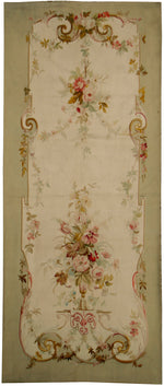 a198 - Antique Aubusson Rug, Circa 1860 (4' x 9') | OAKRugs by Chelsea 100 percent wool area rugs, vintage braided rugs for sale, antique tapestry rugs