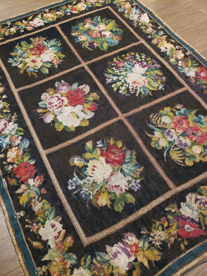 a1 - Antique Needlepoint Rug (5' x 7') | OAKRugs by Chelsea wool bohemian rugs, good quality wool rugs, vintage wool braided rug