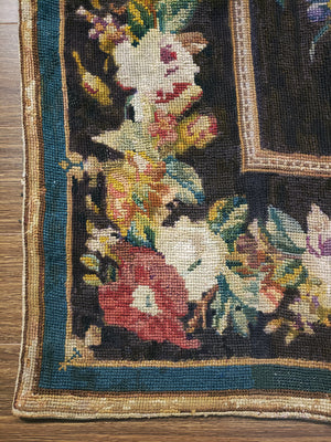 a1 - Antique Needlepoint Rug (5' x 7') | OAKRugs by Chelsea high end wool rugs, hand knotted wool area rugs, quality wool rugs