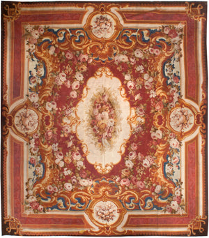 a201 - Antique Aubusson Rug (14'7'' x 17'2'') | OAKRugs by Chelsea 100 percent wool area rugs, vintage braided rugs for sale, antique tapestry rugs