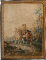 Antique Bauvais wool and silk Tapestry - Cavelier, Circa 1720, 8' x 11'  (a202)
