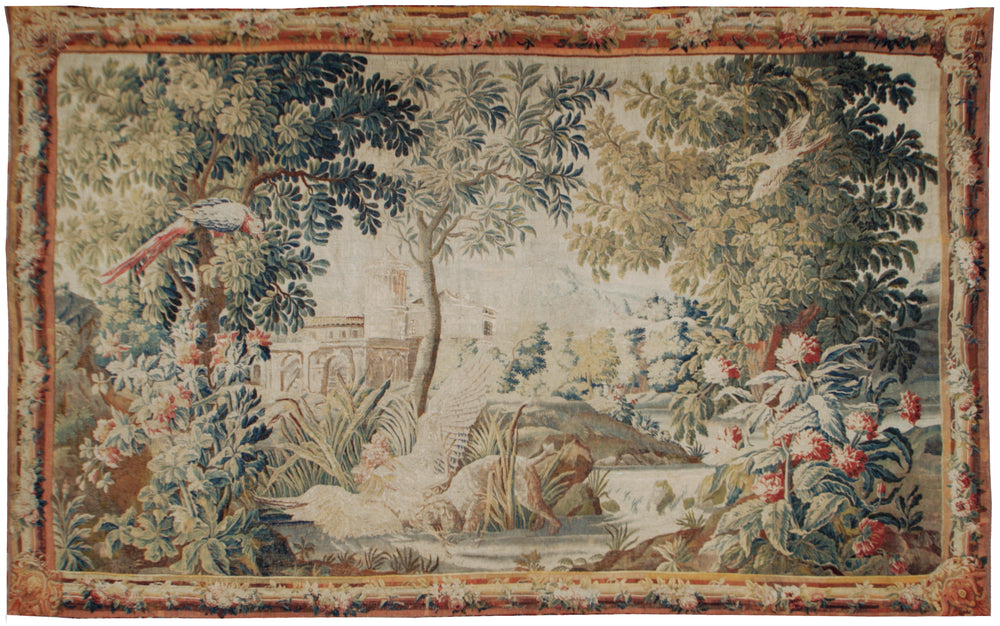 a203 - Antique Tapestry , Circa 1720 (8' x 13') | OAKRugs by Chelsea 100 percent wool area rugs, vintage braided rugs for sale, antique tapestry rugs