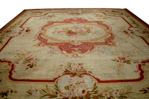 a242 - Antique Aubusson Rug (14' x 14'7'') | OAKRugs by Chelsea antique wall rugs, handmade antique art rugs, European antique rugs