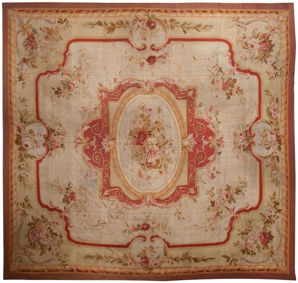a242 - Antique Aubusson Rug (14' x 14'7'') | OAKRugs by Chelsea 100 percent wool area rugs, vintage braided rugs for sale, antique tapestry rugs