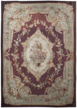 a245 - Antique Aubusson Rug, Circa 1850 (9' x 12') | OAKRugs by Chelsea 100 percent wool area rugs, vintage braided rugs for sale, antique tapestry rugs