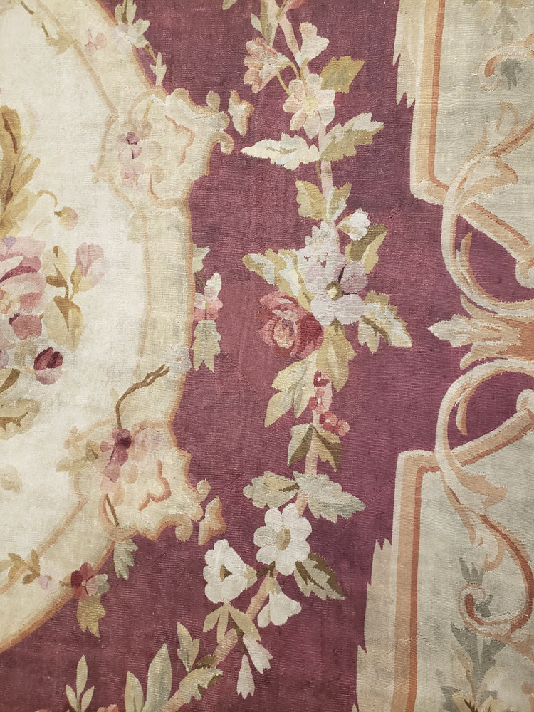 a245 - Antique Aubusson Rug, Circa 1850 (9' x 12') | OAKRugs by Chelsea second hand wool rugs, wool area rugs traditional, classical antique European rugs