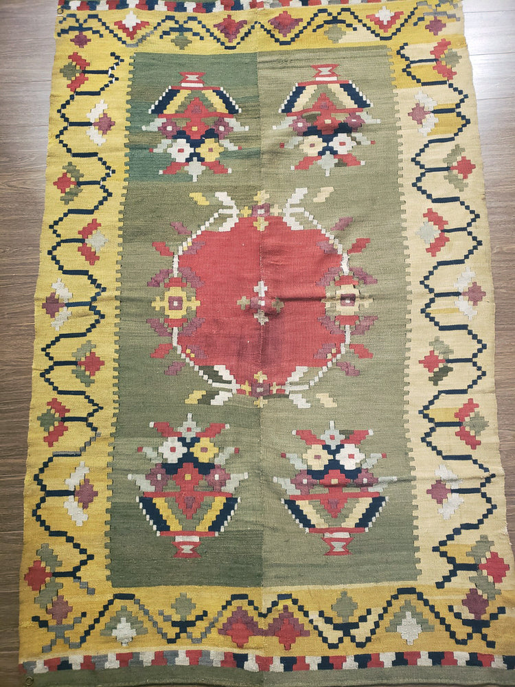 a428 - Antique Besserebian Rug (4'2'' x 6'5'') | OAKRugs by Chelsea wool bohemian rugs, good quality wool rugs, vintage wool braided rug