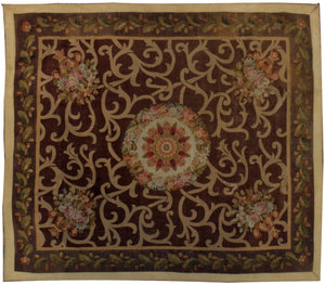a440 - Antique Aubusson Square, Circa 1870 (7' x 8') | OAKRugs by Chelsea 100 percent wool area rugs, vintage braided rugs for sale, antique tapestry rugs