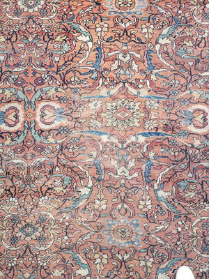a445 - Antique Mahal Rug (12' x 21') | OAKRugs by Chelsea wool bohemian rugs, good quality wool rugs, vintage wool braided rug