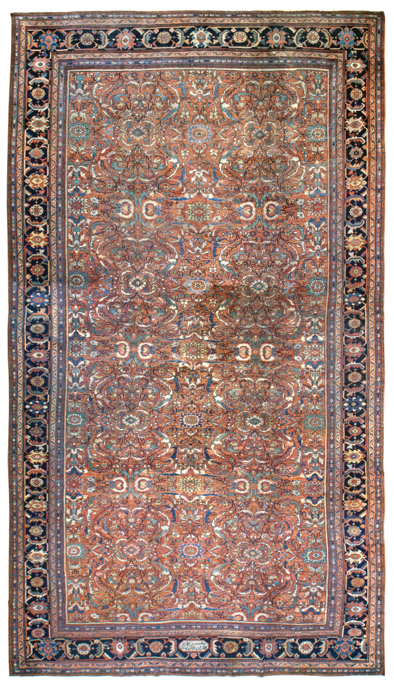 a445 - Antique Mahal Rug (12' x 21') | OAKRugs by Chelsea affordable wool rugs, handmade wool area rugs, wool and silk rugs contemporary