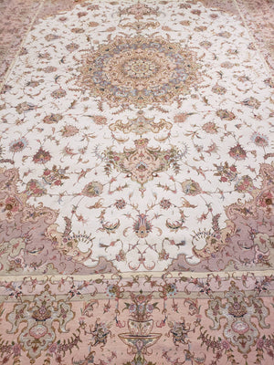 a446 - Vintage Tabriz Rug (11'4'' x 16'8'') | OAKRugs by Chelsea wool bohemian rugs, good quality wool rugs, vintage wool braided rug