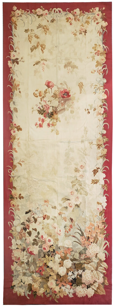 Antique Aubusson Panel Circa 1860, 4' x 12'  (a5)