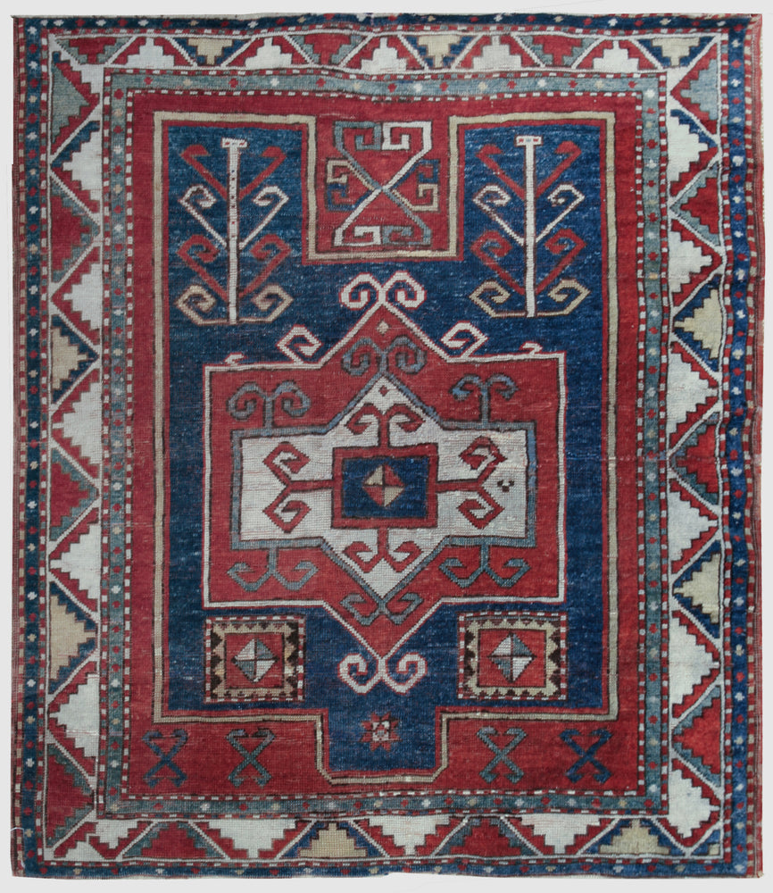 a60 - Vintage Kazak Rug (3'8'' x 4'2'') | OAKRugs by Chelsea affordable wool rugs, handmade wool area rugs, wool and silk rugs contemporary