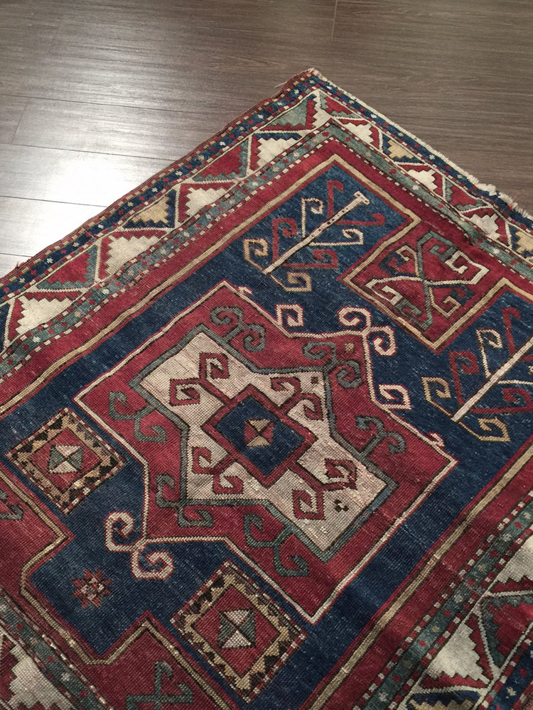 a60 - Vintage Kazak Rug (3'8'' x 4'2'') | OAKRugs by Chelsea high end wool rugs, hand knotted wool area rugs, quality wool rugs