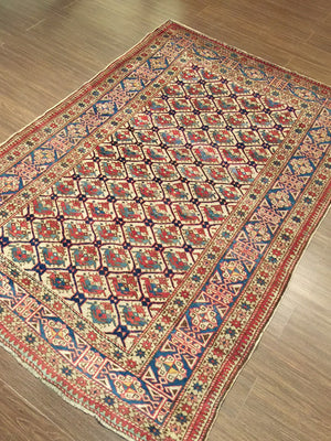 a63 - Antique Shirvan Rug (4'2'' x 5'10'') | OAKRugs by Chelsea wool silk rugs contemporary, handmade modern wool rugs, wool silk area rugs contemporary