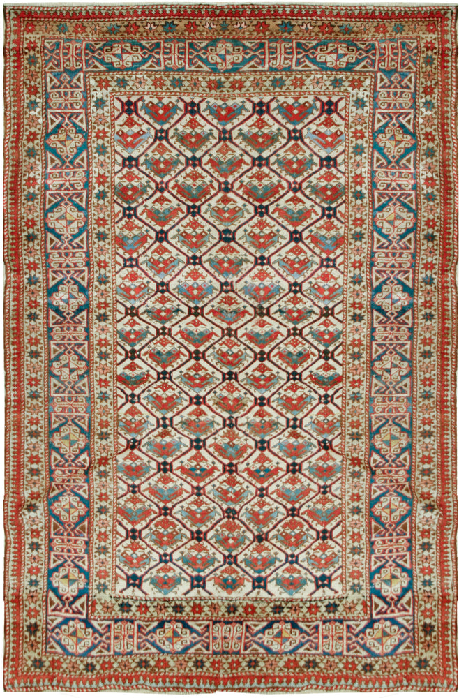 a63 - Antique Shirvan Rug (4'2'' x 5'10'') | OAKRugs by Chelsea inexpensive wool rugs, unique wool rugs, wool rug vintage