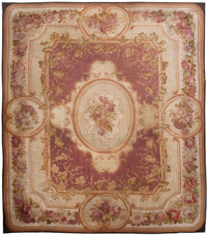 a68 - Antique Aubusson Rug, Circa 1780 (13' x 16') | OAKRugs by Chelsea 100 percent wool area rugs, vintage braided rugs for sale, antique tapestry rugs
