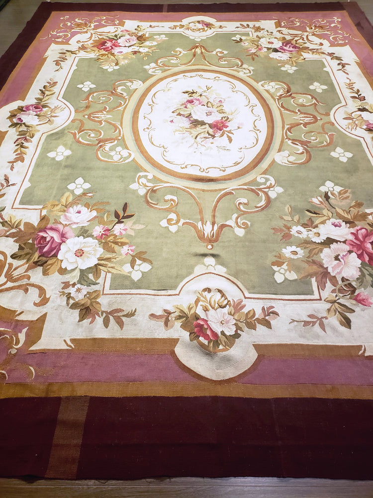 a69 - Antique Aubusson Rug, Circa 1790 (11' x 14') | OAKRugs by Chelsea second hand wool rugs, wool area rugs traditional, classical antique European rugs