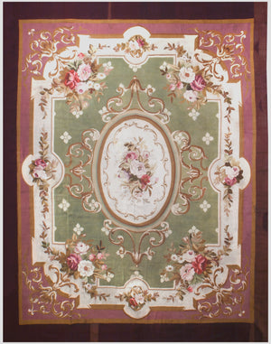 a69 - Antique Aubusson Rug, Circa 1790 (11' x 14') | OAKRugs by Chelsea 100 percent wool area rugs, vintage braided rugs for sale, antique tapestry rugs