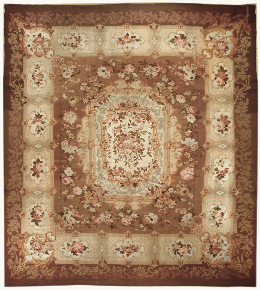 Antique Aubusson  Square, Circa 1770, 12' x 14'  (a70)