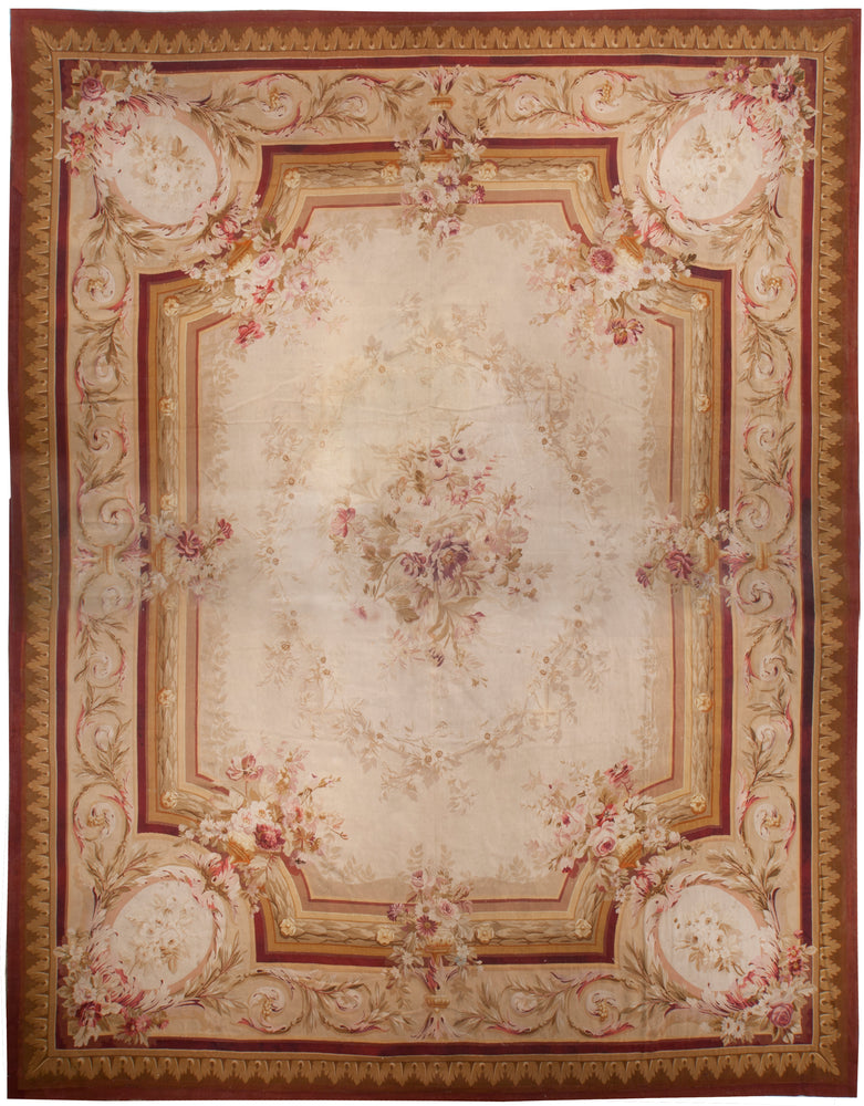 a71 - Antique Aubusson Rug, Circa 1760 (14' x 18') | OAKRugs by Chelsea 100 percent wool area rugs, vintage braided rugs for sale, antique tapestry rugs