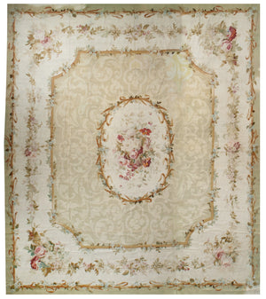 a8 - Antique Aubusson Rug, Circa 1770 (14' x 16') | OAKRugs by Chelsea 100 percent wool area rugs, vintage braided rugs for sale, antique tapestry rugs