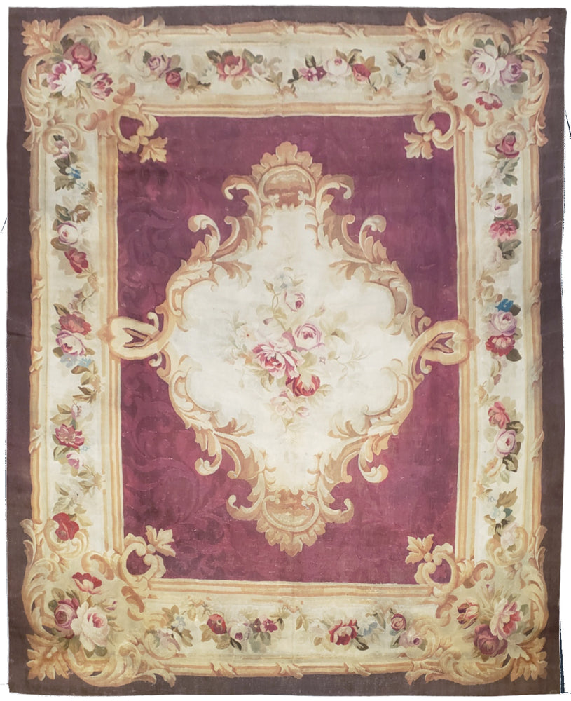 Antique Aubusson Rug, Circa 1850, 8' x 10'  (a9)