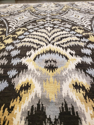 n6077 - Transitional Ikat Rug (Wool) - 8' x 10' | OAKRugs by Chelsea wool bohemian rugs, good quality wool rugs, vintage wool braided rug