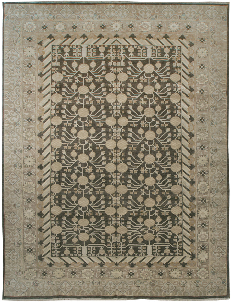 ik1236 - Classic Khotan Rug (Wool and Silk) - 9' x 12' | OAKRugs by Chelsea affordable wool rugs, handmade wool area rugs, wool and silk rugs contemporary