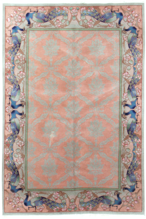 irj1113 - Vintage Deco, Handknotted Wool Rug, (6' x 9') | OAKRugs by Chelsea high end wool rugs, good quality rugs, vintage and antique, handknotted area rugs
