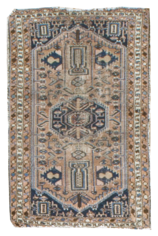 irj1120 - Vintage Distressed, Handknotted Wool Rug, (3' x 4') | OAKRugs by Chelsea high end wool rugs, good quality rugs, vintage and antique, handknotted area rugs