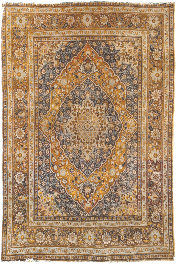 irj1124 - Vintage Distressed, Handknotted wool Rug, (4' x 5') | OAKRugs by Chelsea high end wool rugs, good quality rugs, vintage and antique, handknotted area rugs