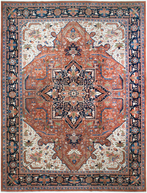 irj1128 - Vintage Indo Serapi, Handknotted Wool Rug, (12' x 18') | OAKRugs by Chelsea high end wool rugs, good quality rugs, vintage and antique, handknotted area rugs