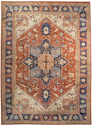 irj1151 - Vintage Indo Serapi, Handknotted Wool Rug, (10' x 14') | OAKRugs by Chelsea high end wool rugs, good quality rugs, vintage and antique, handknotted area rugs