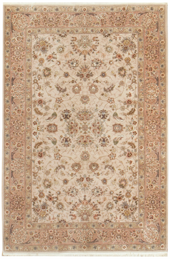 irj1154 - Vintage Oriental, Handknotted Wool and Silk Rug, (4' x 6') | OAKRugs by Chelsea high end wool rugs, good quality rugs, vintage and antique, handknotted area rugs