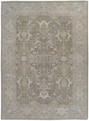 k1231 - Transitional Tabriz Rug (Wool and Silk) - 9' x 12' | OAKRugs by Chelsea affordable wool rugs, handmade wool area rugs, wool and silk rugs contemporary