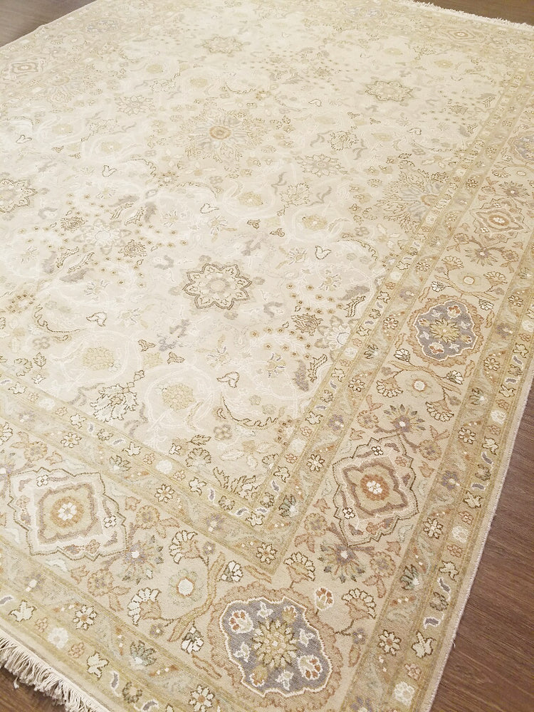 k5003 - Transitional Tabriz Rug (Wool and Silk) - 8' x 10' | OAKRugs by Chelsea wool bohemian rugs, good quality wool rugs, vintage wool braided rug